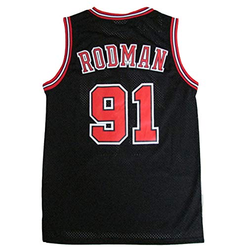 Männer Basketballweste No.91 Rodman Swingman Jersey Gym Sportswear Gesticktes Mesh Atmungsaktives T-Shirt Black-M