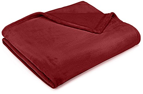 Amazon Basics Velvet Plush Throw Manta suave con tacto de terciopelo, borgoña, 168 x 229cm