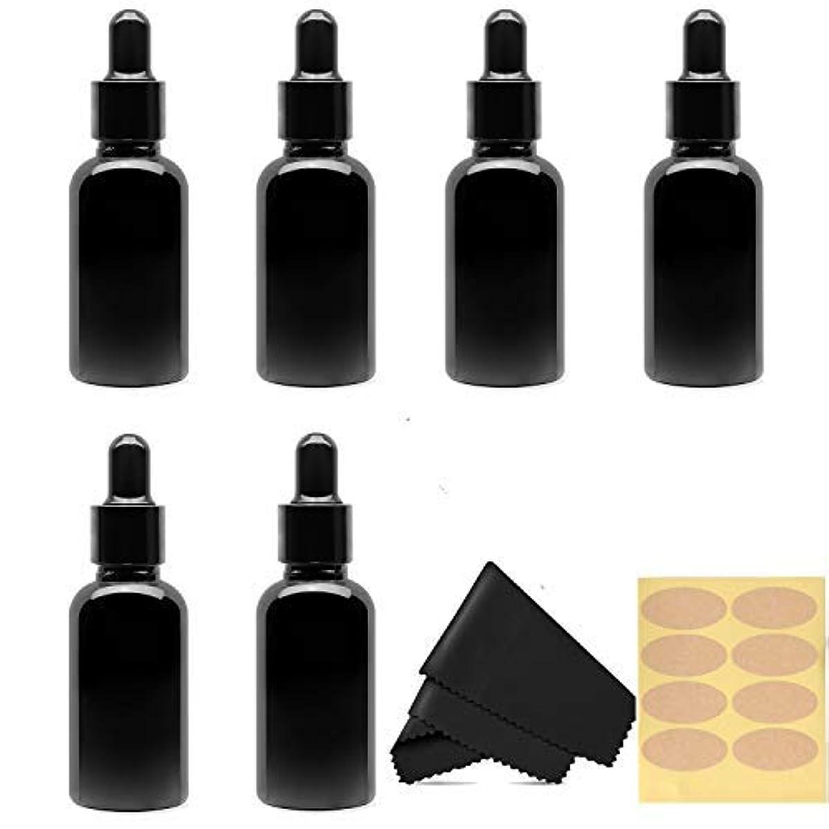 一次墓地批評30 Ml (1 fl oz) Black Glass Essential Oil Bottles with Eye Droppers, 6 Pack [並行輸入品]