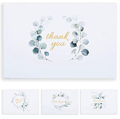 Set of 48 Gold Foil Eucalyptus Wedding Thank You Cards for Bridal Shower, Baby Shower, Graduation, Small Business- Thank You Notes Blank Inside with Envelopes- 4x6