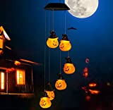 Bbrand Solar Powered Light Wind Chimes Solar Halloween Pumpkin Decorative with 6 LED Pumpkin Lights, Waterproof Holiday Lights for Indoor/Outdoor Decor, Halloween, Garden, Party