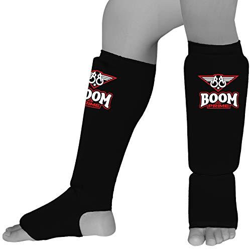 BOOM Prime Shin Instep Guards - Great for Kickboxing Muay Thai MMA Krav Maga Martial Arts Taekwondo Kick Boxing Training Sparring Pads to Guard Leg Foot & Instep Protective Gear (Black, Medium)