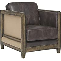 Signature Design by Ashley Copeland Rustic Faux Leather Accent Chair with Nailhead Trim (Brown)