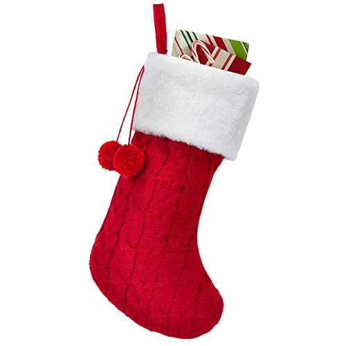 Townshine Cable Knit Christmas Stockings, 16 Inches Plush Faux Fur Cuff Knitted Xmas Stocking for Family Holiday Decorations (1, Red)