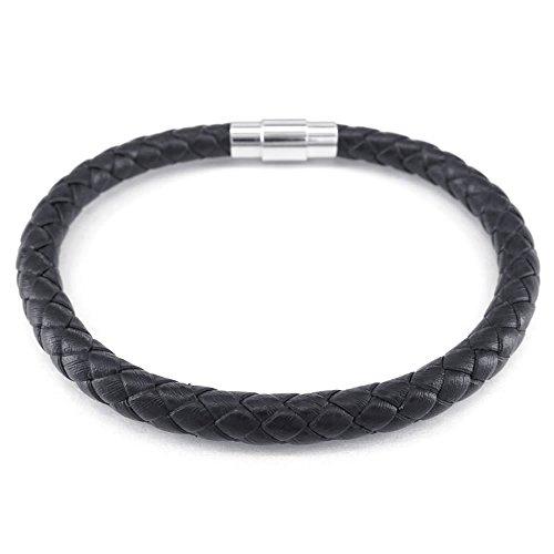 Konov Jewellery Herren Damen Lederarmband geflochten 6 mm Magnetverschluss Schwarz (mit Geschenkbeutel)
