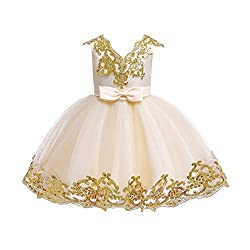Sequin Bowknot Tutu Champagne Color Gown