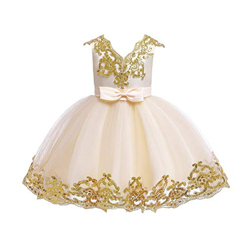 Flower Girl Dress Toddler Kids Baby Girls Shiny Sequin Bowknot Tutu Tulle Princess Dresses Birthday Party Pageant Wedding Bridesmaid Formal Evening Sundress Baptism Clothes Gift Champagne 5-6T