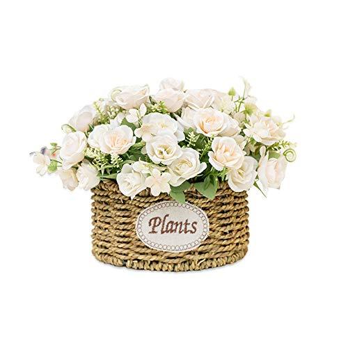 BSET BUY Rose Künstliche Blume Gefälschte Blumen Brautstrauß Realistische Blumenblüte Mit Weizenstiel Geflochten Korb Für Hausgartenparty Hotel Büro Dekorationen Weiß