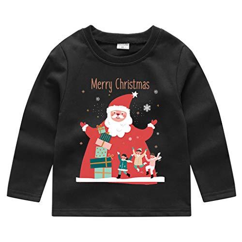 Cuteelf Kinder Langarm Weihnachten Santa Schneemann Weihnachtsbaum Brief Drucken Pullover T-Shirt Top Weihnachten Schneemann Sweatshirt Pullover Top T-Shirt Komfort Langarm