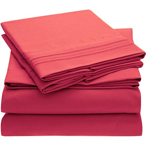 Mellanni Bed Sheet Set Brushed Microfiber 1800 Bedding - Wrinkle, Fade, Stain Resistant - Hypoallergenic - 3 Piece (Twin, Hot Pink)