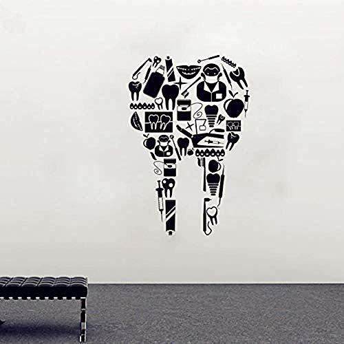 Adhesivo de pared Dental, papel tapiz de protección de dientes, calcomanía de pared de dentista, vinilo impermeable, decoración del hogar 83X56Cm