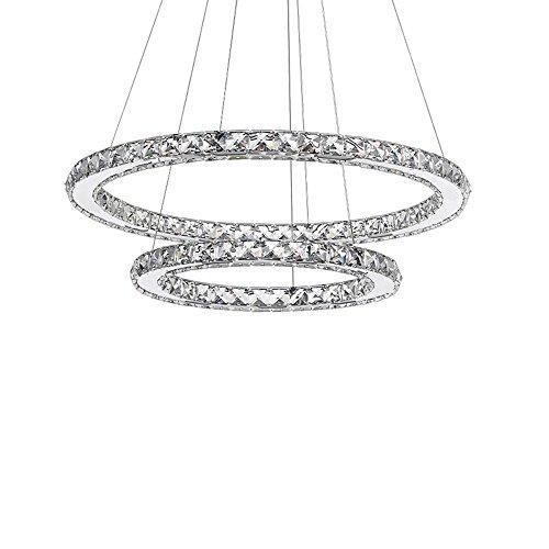 SAILUN 48W LED Kristall Design Hängelampe Zwei Ringe(Φ: 30cm+50cm) Deckenlampe Pendelleuchte Kreative Kronleuchter Kaltweiß Lüster (48W Kaltweiß)