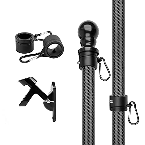 HIBLE 6FT Flag Pole Sturdy Carbon Fiber Flag Pole Wall Mount American Flag with Pole for House Garden Yard Flag Poles Residential with Bracket and Tangle Free Rings (Black Flag Pole No Flag)