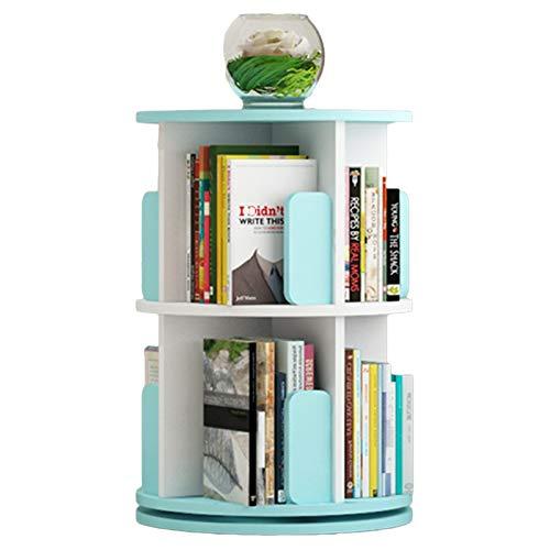 Estantes Librero Pie Esquina Libros, 360° Estantería Giratorio con Deflector Azul, Gran Capacidad Bandeja de Almacenamiento para Uso en Espacios Reducidos (Size : 2-Tier(39×67.8cm))