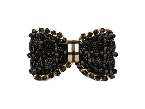La Loria Damen 2 Schuhclips Schleife -Black Heart- in Schwarz-Gold, Accessoire zum Schuhe verschönern, Schuhschmuck Brosche