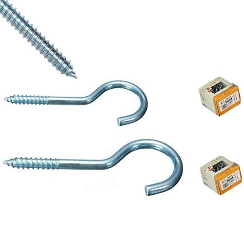 Ringschraube Schraubösen Hakenschrauben Stahl verzinkt - Stabile Schraubhaken Wandhaken in 3 verschiedenen Größen (15 Stück 9 cm)