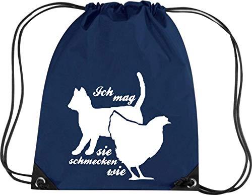 Camiseta stown Premium gymsac divertido Sprüche Ich Mag Gatos, usted schmecken como pollo, azul marino