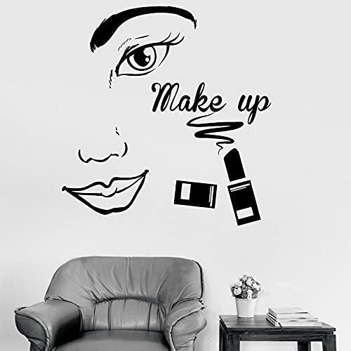 HUIJK Dormitorio Decorativo Maquillaje Salón De Belleza Moda Mujer Cara Etiqueta De La Pared Vinilo Interior Decoración De La Sala De La Tienda Calcomanías De