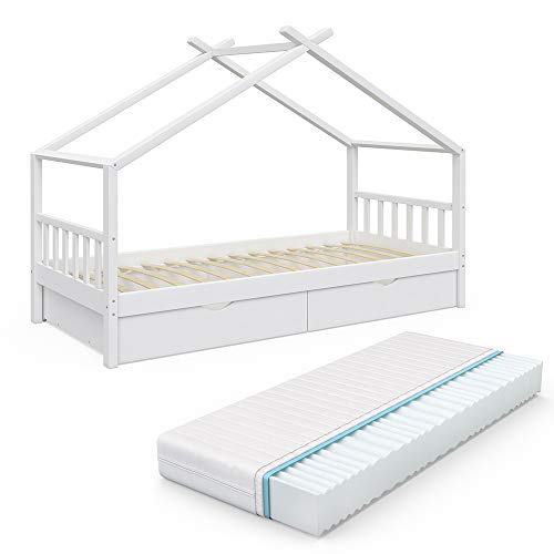 VitaliSpa Kinderbett Hausbett Design 90x200cm INKL SCHUBLADEN Kinder Bett Holz Haus Schlafen Hausbett Spielbett Inkl. Lattenrost (Weiß lackiert mit Matratze)
