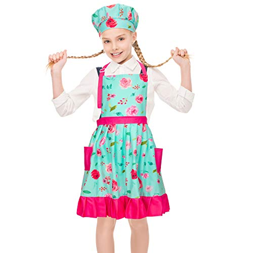 MHJY Kids Apron Hat Set for Girls Vintage Pleated Skirt Aprons with Adjustable Strap Pockets for Baking Cooking,Aqua Green Floral,Large (8-12 Years)