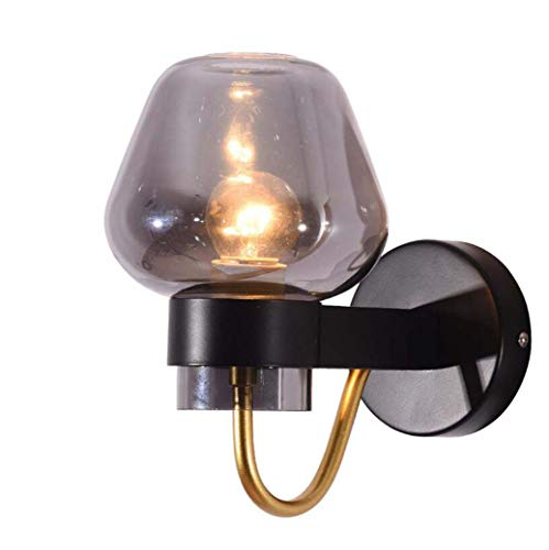 Yd&hNordic wandlamp, creatieve minimalistische smeedijzeren wandlamp met glazen lampenkap, slaapkamer-bedlampje restaurant hotel-wandlampen, E27, max. 40W, A