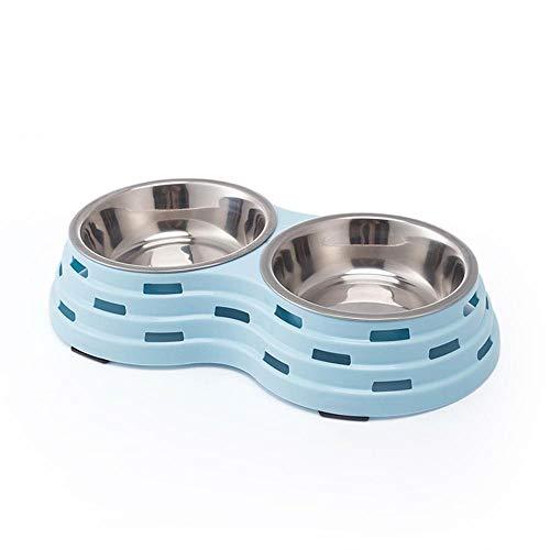 Hundenapf Pet Double Bowl Edelstahl Katze Hund Fütterung Futternäpfe Trinkwasserschale Welpe Kätzchen Feeder Haustiere Geschirr S25X14X5Cm Blau