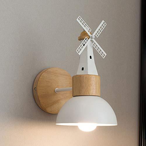 Hines Modern Wooden Wall Light Molino De Viento Industria De La Creatividad Lámpara De Pared Simple Iluminación Interior Colgando La Pared Lámpara De Pared De Hierro A Un Lado Linterna Pared E27 Luces