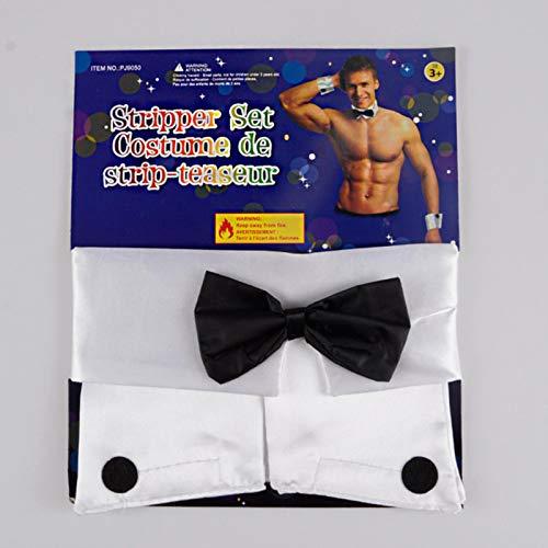 SEXYSY Disfraz Sexy para Hombres Gay, Accesorios de Playboy, Conjunto de Cuello y puos, bailarn Masculino, Sexy, Stripper, Disfraz de Cosplay, lencera de mayordomo y Camarero