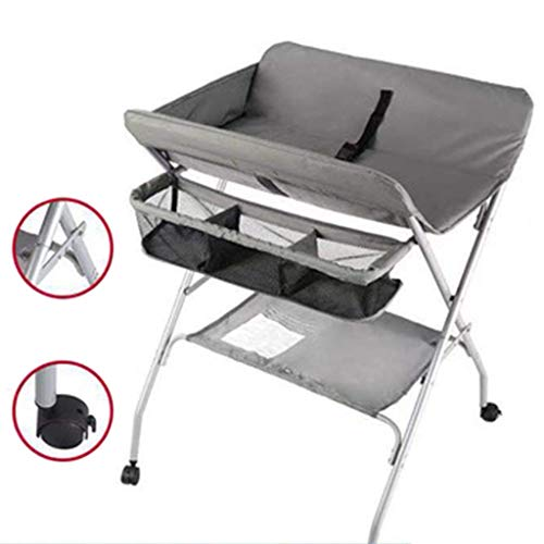 Safety Folding Baby Changing Station with Storage, Newborn Dresser Table Portable Diaper Organizer, Cross Leg Style Massage Care with Lockable Wheels (4 Color) Best Choice (Color : D)