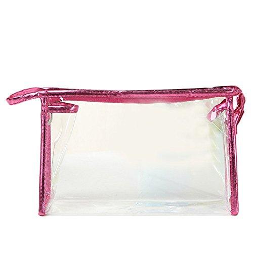 Gespout Trousse de Toilette en Plastique Rouge Transparent Étanche