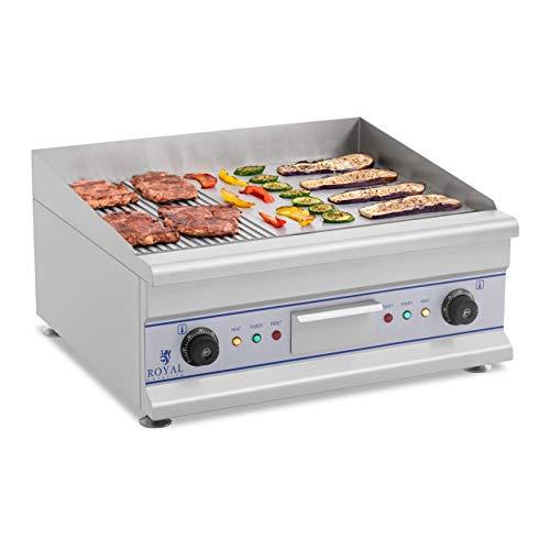 Royal Catering Fry Top Eléctrico Plancha Grill Cocina Parrilla Industrial RCG 60G (Largo: 60 cm, 2 x 3.200 Watt, Superficie de calentamiento: lisa y ondulada, Protección antisalpicaduras)