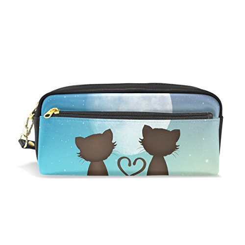 COOSUN Cats in Love On Roof Portable PU Leather Pencil Case School Pen Bags Stationary Pouch Case Large Capacity Makeup Cosmetic Bag