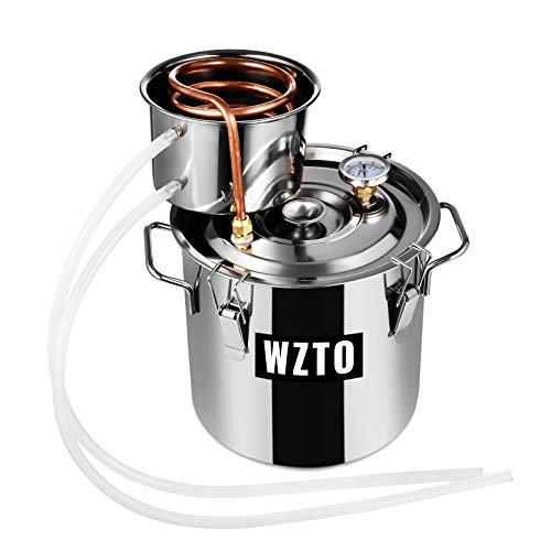 Moonshine Still 5 GAL 20L Stainless Steel Copper Tube Household Brewing Tool, With Circulating Pump Alcohol Distiller Still Built-in Thermometer, Used For DIY Whiskey, Brandy, Hydrosol (5GAL 2Pot 20L)