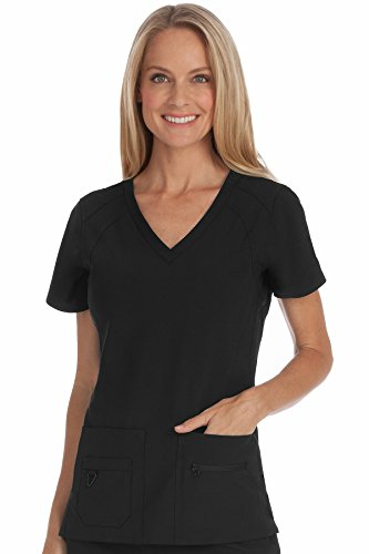 Med Couture Activate Women's V-Neck Racerback Scrub Top, Black, Large