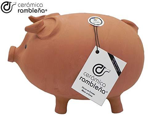 CERÁMICA RAMBLEÑA | Hucha Cerdito de Barro Rojo Tradicional | Hucha Infantil | 100% Hecho a Mano | 27x17x19 cm