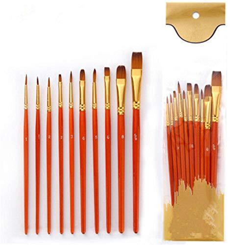 WOOAI 10 Stück Nylon Haarfarbe Pinsel Set Künstler Aquarell Ölpinsel für Kinder Studenten Kawaii Briefpapier Kunst Malerei Zubehör, Rot, USA
