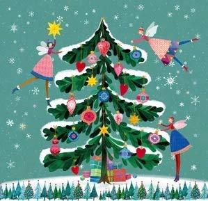 Servietten Weihnachten Weihnachts-Deko Weihnachts-Essen Weihnachts-baum bunt, 33x33cm, 20 Stück-Pack, 3-lagig, 100% Tissue
