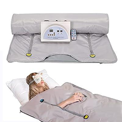 SurmountWay Sauna Blanket Far Infrared, Professional Body Shaper Sauna Slimming Blanket Detox Therapy Machine Fitness(Zipper Type,Silver)
