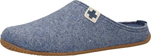 Living Kitzbühel Herren Pantoffel Rewooly Schweizer Kreuz mit Fußbett Hausschuh, Media Blue, 38 EU