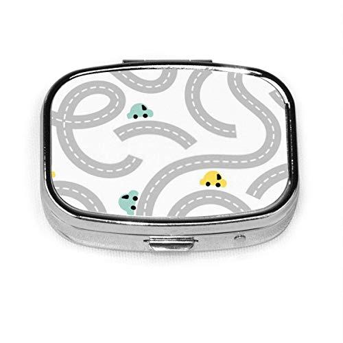 Pastillero – Personalizado Road Baby Cars Print The Arts Kid Pastilleros, portable, rectangular de metal plateado, compacto 2 espacios, pastilleros para viaje/bolsillo/bolso