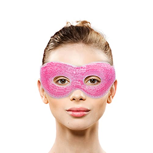 Gel Eye Mask with Eye Holes- Hot Cold Compress Pack Eye Therapy | Cooling Eye Mask for Puffy Eyes, Dry Eyes, Headaches, Migraines, Dark Circles, Sinus - Reusable Eye Face Mask | Ergo Gel Bead (Pink)