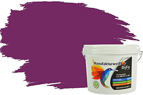 RyFo Colors Bunte Wandfarbe Manufakturweiß Aubergine 3l - weitere Violett Farbtöne und Größen erhältlich, Deckkraft Klasse 1, Nassabrieb Klasse 1