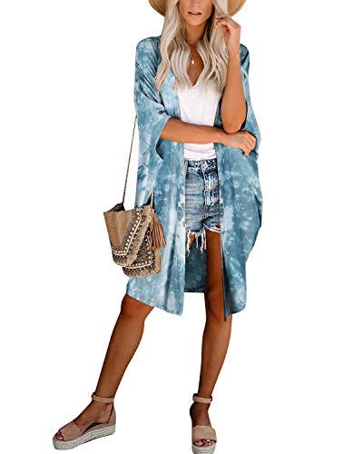 YOINS Damen Bikini Cover Up Chiffon Tunika Strandmode Kimono Druck Strand Cardigan Damen Bedecken Pareo Strandponcho Hellblau S