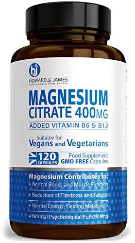 Magnesium Citrate 400mg Plus Vitamin B6 & B12 x120 Capsules by Howard & James