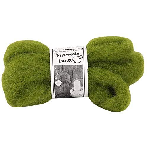 trendmarkt24 Filzwolle grün 2er Pack | Lunte-Set je 2m lang und 30-40 mm breit 100% Schafschurwolle Nassfilzen & Trockenfilzen wasserfest lichtecht farbecht Bastelfilz