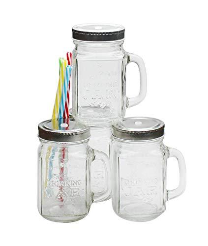 Ard'Time-Set Di 4 Barattoli Drinking Jars In Vetro Con Manico, 450 Ml