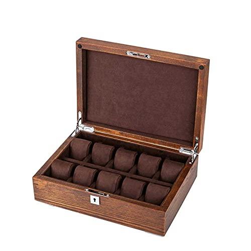 Adesign Ansehen Anzeigen Aufbewahrungsbox Schmuckkollektion Fall Organizer Holder Holz, 10 Schlitze für Display Lagerung Watchhalter mit Schloss und Tasten (Color : B)
