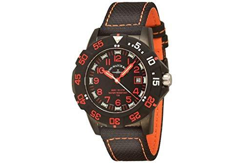 Zeno-Watch 6709-515Q-a1-7 H3 Fashion Diver - Reloj de Pulsera para Hombre, Color Negro y Rojo