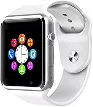 A1 Reloj Bluetooth Inteligente Reloj de Las Mujeres de los Hombres Deporte podómetro TF Cámara SIM Smartwatch para iPhone Android Smartphone PK DZ09 (Blanco, con Caja al por Menor)