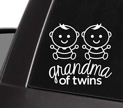 43LenaJon Divertido vinilo adhesivo para ventana, diseño de abuela de gemelos, color blanco, versión infantil, para niños gemelos, gemelos y chicos gemelos, impermeable